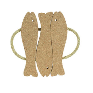 Decorative Cork Hot Pad 3 Fishes (natural cork) - CORKCHO