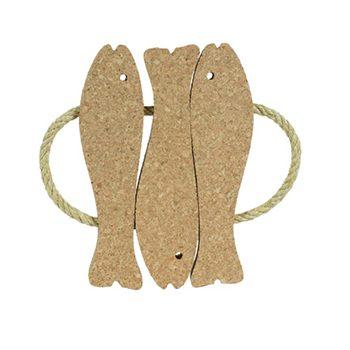Decorative Cork Hot Pad 3 Fishes (natural cork) - CORKCHO